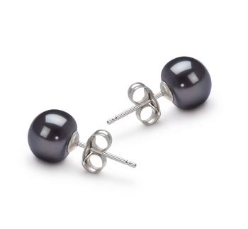 Negro 7-8mm Calidad AA Pendientes de Perlas de Agua Dulce y Oro blanco 14K