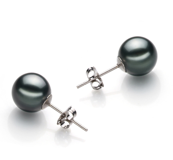 Negro 9-10mm Calidad AAA Pendientes de Perlas Tahití