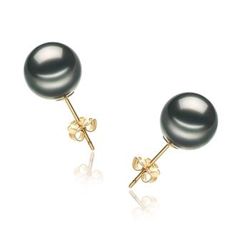Negro 9-10mm Calidad AA Pendientes de Perlas Tahití