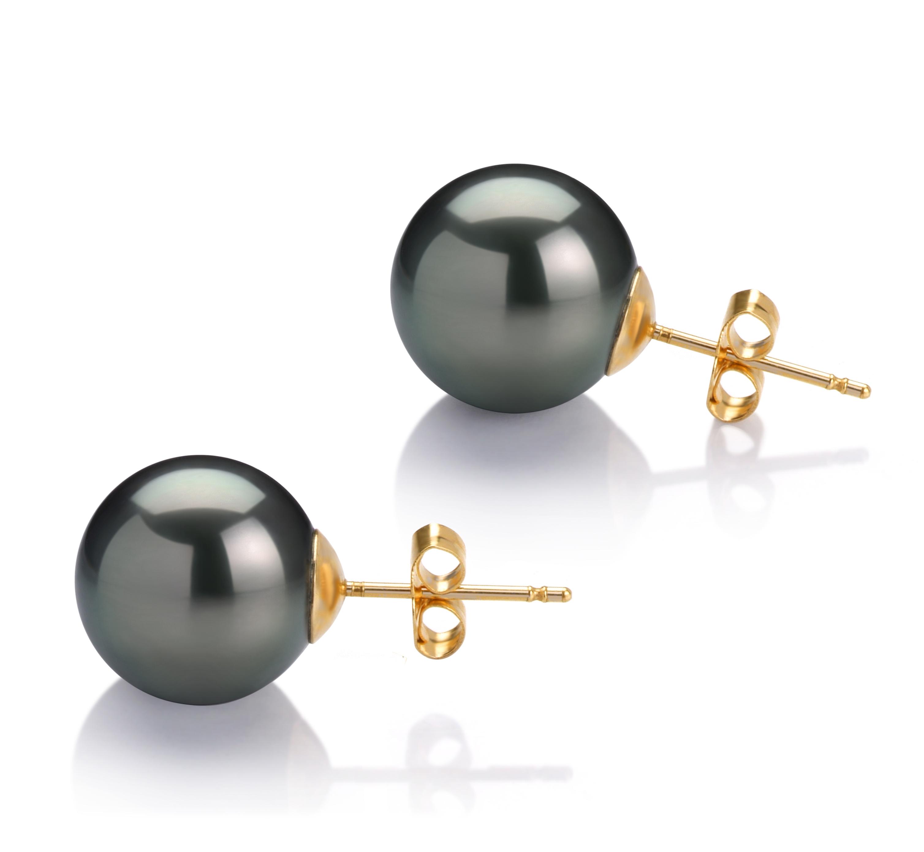 Negro 11-12mm Calidad AAA Pendientes de Perlas Tahití y Oro amarillo 14K