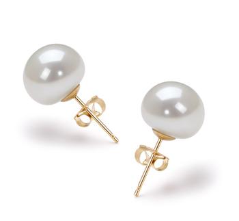 Blanco 9-10mm Calidad AAA Pendientes de Perlas de Agua Dulce