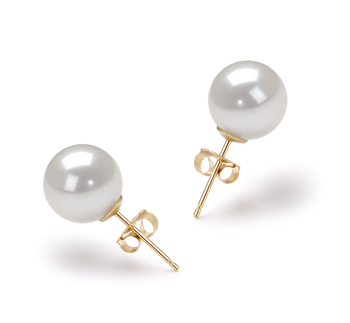 Blanco 8-9mm Calidad AA Pendientes de Perlas Akoya Japonesa