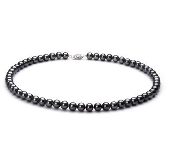 Negro 6-7mm Calidad AA Collar de Perlas de Agua Dulce y Plata esterlina 925