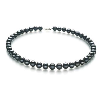 Negro 8.5-9mm Calidad AA Collar de Perlas de Agua Dulce y Plata esterlina 925