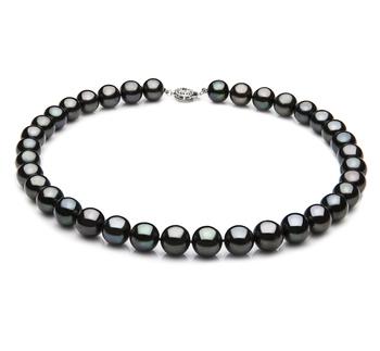 Negro 9.5-10.5mm Calidad AAA Collar de Perlas de Agua Dulce y Plata esterlina 925
