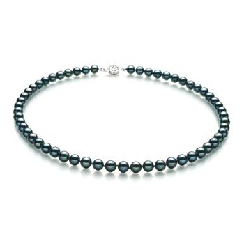 Negro 6.5-7mm Calidad AA Collar de Perlas Akoya Japonesa y Plata esterlina 925