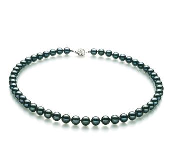 Negro 7.5-8mm Calidad AA Collar de Perlas Akoya Japonesa y Plata esterlina 925