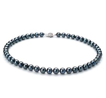 Negro 7.5-8mm Calidad AAA Collar de Perlas Akoya Japonesa y Plata esterlina 925