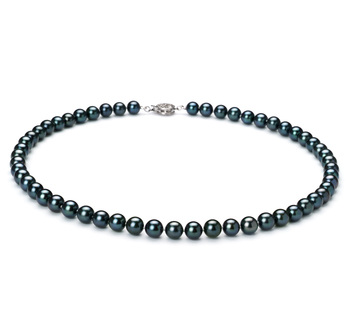 Negro 6.5-7mm Calidad AAA Collar de Perlas Akoya Japonesa y Plata esterlina 925