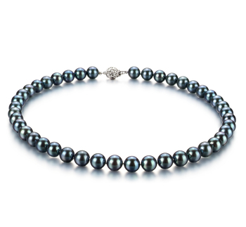 Negro 8.5-9mm Calidad AAA Collar de Perlas Akoya Japonesa y Plata esterlina 925
