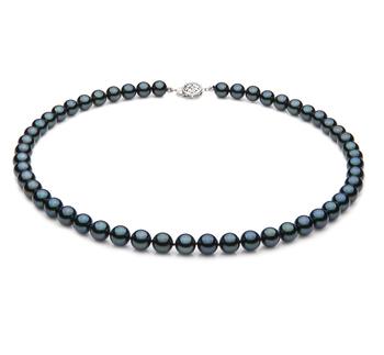 Negro 7-7.5mm Calidad AA Collar de Perlas Akoya Japonesa y Plata esterlina 925