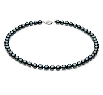 Negro 7-7.5mm Calidad AAA Collar de Perlas Akoya Japonesa y Plata esterlina 925