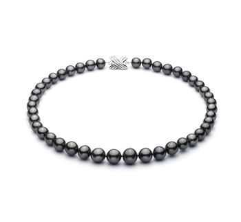 Negro 9.5-11mm Calidad AAA Collar de Perlas Tahití y Oro blanco 14K