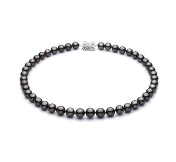 Negro 9.2-10.9mm Calidad AAA Collar de Perlas Tahití y Oro blanco 14K