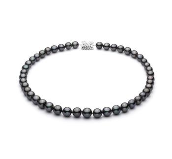 Negro 9.1-11mm Calidad AA+ Collar de Perlas Tahití y Oro blanco 14K