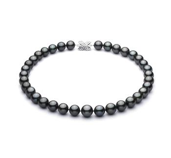 Negro 11.2-13.8mm Calidad AA+ Collar de Perlas Tahití y Oro blanco 14K