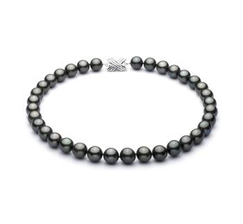Negro 10.9-13.8mm Calidad AAA Collar de Perlas Tahití y Oro blanco 14K