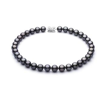 Negro 11.1-11.94mm Calidad AAA Collar de Perlas Tahití y Oro blanco 14K