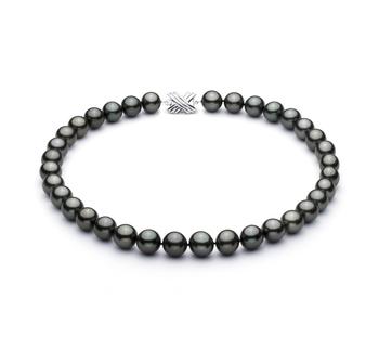 Negro 11.3-12.18mm Calidad AAA Collar de Perlas Tahití y Oro blanco 14K