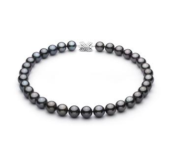 Negro 12.01-13.08mm Calidad AAA Collar de Perlas Tahití y Oro blanco 14K