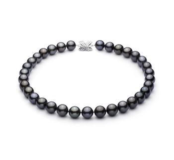 Negro 12-12.89mm Calidad AAA Collar de Perlas Tahití y Oro blanco 14K