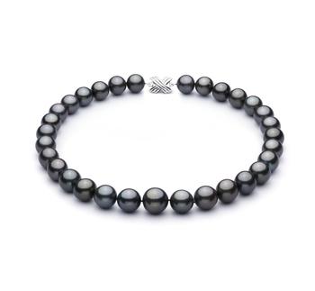 Negro 13.1-16mm Calidad AAA+ Collar de Perlas Tahití y Oro blanco 14K