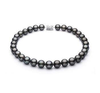 Negro 13-15.5mm Calidad AAA Collar de Perlas Tahití y Oro blanco 14K
