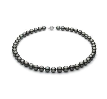 Negro 8-10mm Calidad AA+ Collar de Perlas Tahití y Oro blanco 14K