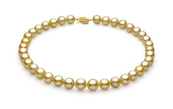Oro 10.89-12.75mm Calidad AAA Collar de PerlasMar del Sur y Oro amarillo 14K