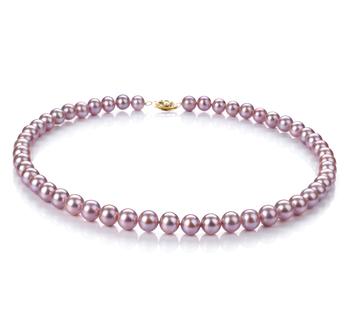 Lavanda 7-8mm Calidad AA Collar de Perlas de Agua Dulce