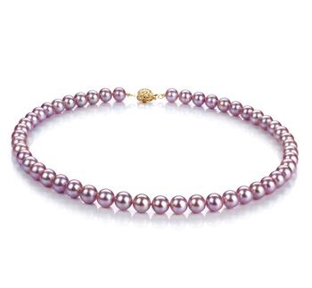 Lavanda 7-8mm Calidad AAAA Collar de Perlas de Agua Dulce y Lleno de oro