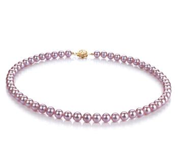 Lavanda 6-6.5mm Calidad AAAA Collar de Perlas de Agua Dulce y Lleno de oro