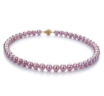 Lavanda 8.5-9.5mm Calidad AAA Collar de Perlas de Agua Dulce y Lleno de oro
