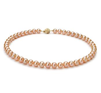 Rosa 7-8mm Calidad AAA Collar de Perlas de Agua Dulce y Lleno de oro