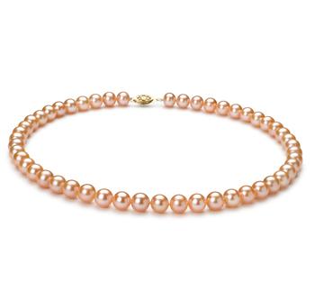 Rosa 7-8mm Calidad AA Collar de Perlas de Agua Dulce