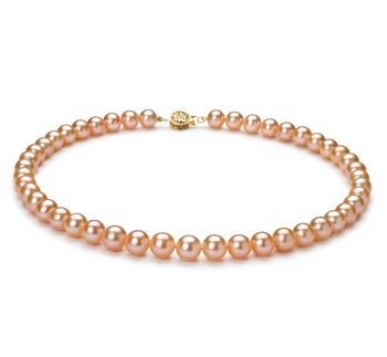 Rosa 8-8.5mm Calidad AAA Collar de Perlas de Agua Dulce y Lleno de oro