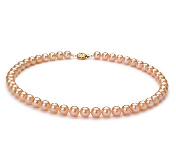 Rosa 7-8mm Calidad AAAA Collar de Perlas de Agua Dulce y Lleno de oro