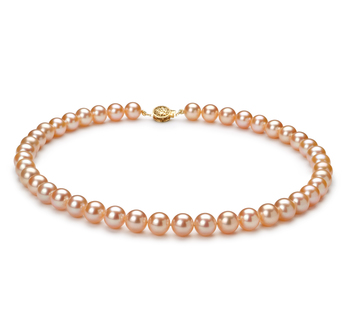 Rosa 8.5-9mm Calidad AAAA Collar de Perlas de Agua Dulce y Lleno de oro
