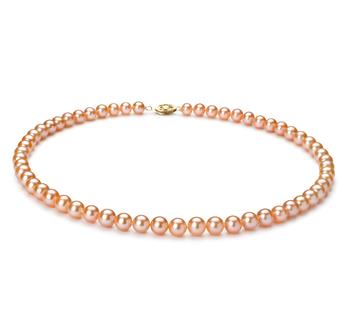 Rosa 6-7mm Calidad AA Collar de Perlas de Agua Dulce y Lleno de oro
