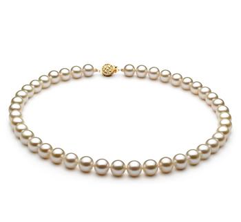 Blanco 8-8.5mm Calidad AAAA Collar de Perlas de Agua Dulce y Lleno de oro