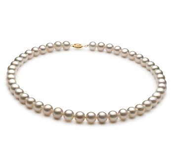 Blanco 8.5-9mm Calidad AA Collar de Perlas de Agua Dulce y Lleno de oro