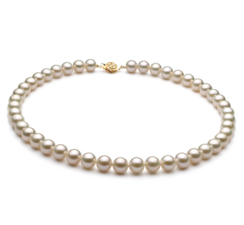 Blanco 8-9mm Calidad AAA Collar de Perlas de Agua Dulce y Lleno de oro