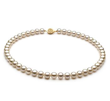 Blanco 7-8mm Calidad AAAA Collar de Perlas de Agua Dulce y Lleno de oro