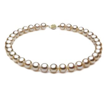 Blanco 10.5-11.5mm Calidad AAA Collar de Perlas de Agua Dulce y Lleno de oro