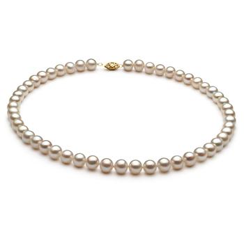 Blanco 6.5-7.5mm Calidad AA Collar de Perlas de Agua Dulce y Aleación