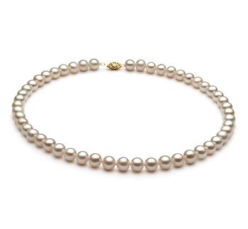 Blanco 7.5-8.5mm Calidad AA Collar de Perlas de Agua Dulce