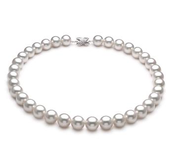 Blanco 12-13mm Calidad AAA Collar de PerlasMar del Sur y Oro blanco 14K