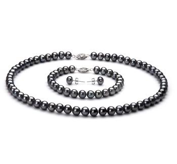 Negro 6-7mm Calidad AA Conjunto de Perlas de Agua Dulce y Plata esterlina 925