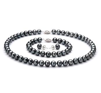 Negro 7.5-8.5mm Calidad AA Conjunto de Perlas de Agua Dulce y Plata esterlina 925