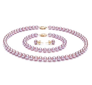 Lavanda 6-6.5mm Calidad AA Conjunto de Perlas de Agua Dulce y Lleno de oro